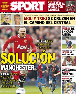 1373236520300 Thiago + Villa + €4m=Rooney: Sport suggest another Barcelona Manchester United swap deal