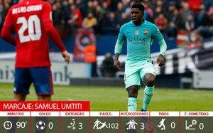 Samuel Umtiti completó un partido prácticamente perfecto ante el Osasuna