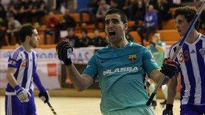 Marc Gual celebra el primer tanto del partido