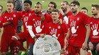 Los jugadores del Bayern, celebrando la consecución de la Bundesliga a falta de tres jornadas