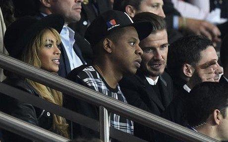 Beckham, Jay-Z y Beyonce, en el palco del Parque de los Pr�ncipes