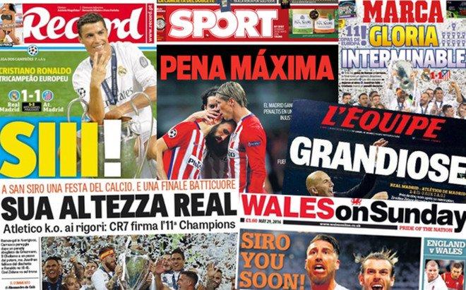 Las portadas destacaron el triunfo del Madrid