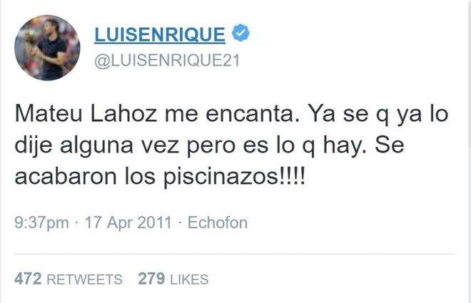 Luis Enrique se declar� fan de Mateu en 2011