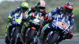 Viñales, Zarco y Rossi, en la carrera de Le Mans