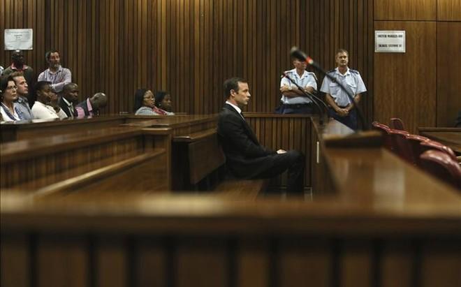 Oscar Pistorius durante su comparecencia ante el juez el pasado 18 de abril