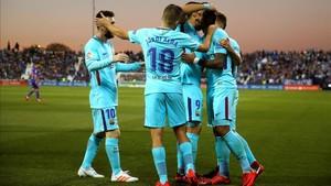 El Barcelona celebra la victoria del Leganés