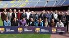 El FCB Legends en el d�a de su presentaci�n oficial en el Camp Nou