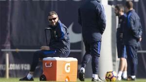 Luis Enrique, en un entrenamiento