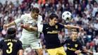 Remate de Cristiano en el gol del Madrid