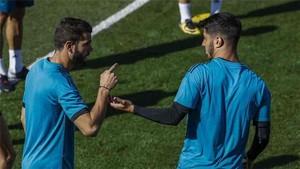 Nacho y Asensio, en el entrenamiento