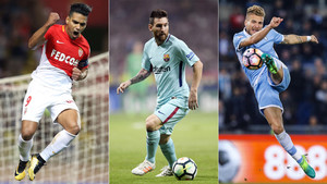 Radamel Falcao (AS Mónaco), Leo Messi (FC Barcelona) y Ciro Immobile (SS Lazio)