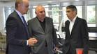 Andreu Subies junto a Albert Soler y Jos� Mar�a Calz�n en la sede de la FCF
