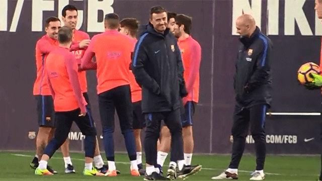 El entrenamiento del Barça previo al partido contra Osasuna