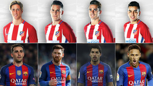 Torres, Gameiro, Griezmann y Correa (arriba); Alcácer, Messi, Luis Suárez y Neymar