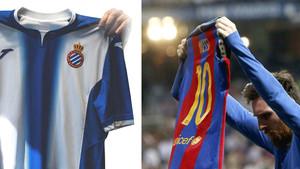 A la izquierda, el tuit del Espanyol. A la derecha, la celebración de Messi