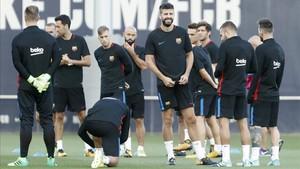 El Barcelona durante una sesión de entrenamiento
