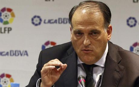 Javier Tebas, durante una rueda de prensa