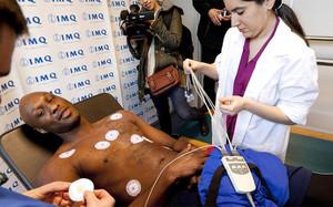 Odom, durante un examen médico en Bilbao en 2014