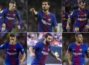 Seis jugadores del FC Barcelona en la rampa de salida