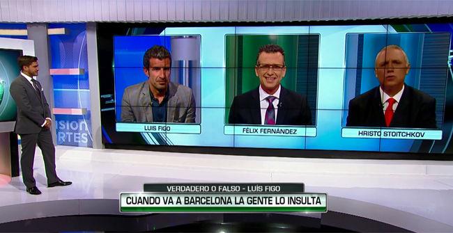 Stoichkov y Figo se vieron las caras en Univision