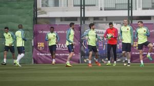 Los jugadores del Barça sin partidos de selección se entrenaron este jueves en la Ciudad Deportiva de Sant Joan Despí