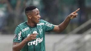Yerry Mina juega en el Palmeiras de Brasil
