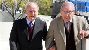 Joan Trayter, en la imagen, acompañado del expresidente del Barça Josep Lluis Nuñez