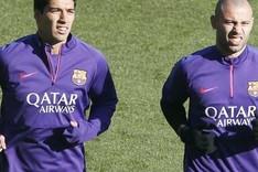 Luis Su�rez y Javier Mascherano durante un entrenamiento del FC Barcelona