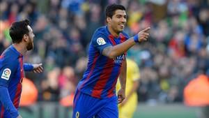 Suárez celebra su gol ante Las Palmas