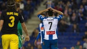 Gerard Moreno, lamentando una ocasión fallada