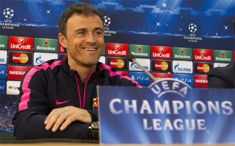Luis Enrique Mart�nez durante la rueda de prensa previa al APOEL-Bar�a