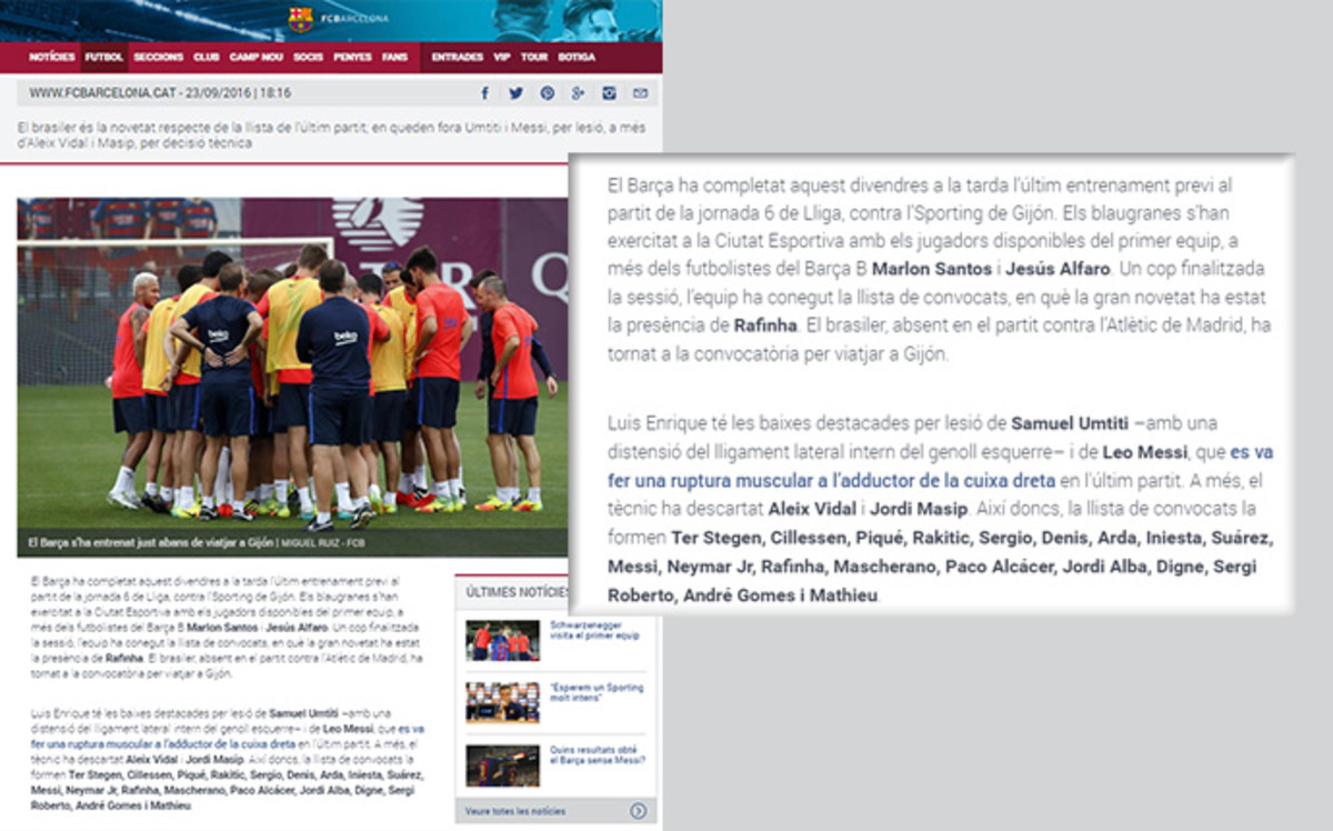 La web del fc barcelona convoca a messi noticias del f for Del website
