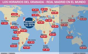 Horarios del Granada - Real Madrid en todo el mundo