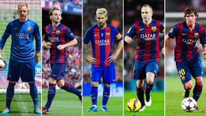 Ter Stegen, Rakitic, Messi, Iniesta y Sergi Roberto