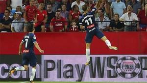 Baptistao, celebrando su golazo al Sevilla
