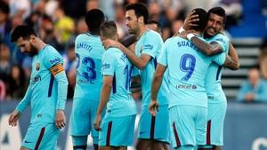 Los jugadores del Barça celebran uno de los goles frente al Leganés