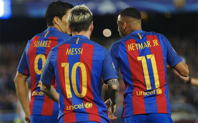 Luis Su�rez, Leo Messi y Neymar Junior celebran uno de sus 264 golescon el Bar�a en los �ltimos dos a�os