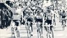 El paseo triunfal en Madrid en la Vuelta de 1991, Melcior Mauri y Marino Lejarreta con los brazos en alto