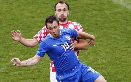 Cassano no vio puerta ante Croacia