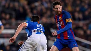 Messi, en un momento del partido ante el Leganés