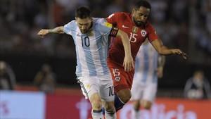 Messi, durante el Argentina - Chile