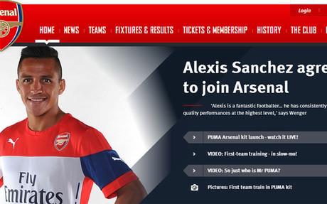 Alexis, protagonista principal de la web del Arsenal.