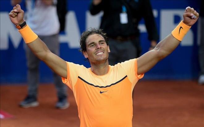 Rafa Nadal celebra su victoria en Barcelona