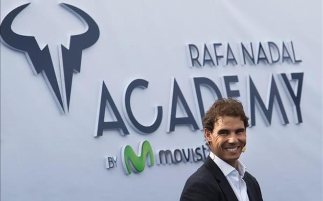 Rafa Nadal era un hombre feliz durante la inauguraci�n oficial de la Rafa Nadal Academy by Movistar