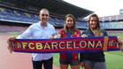 Xesco Espar con sus hijas en el Camp Nou