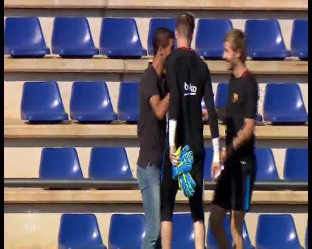 Día de visitas en el entrenamiento del Barça