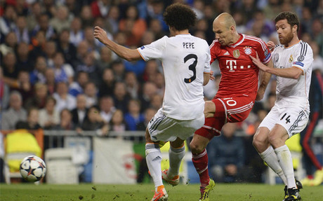 Robben no pudo superar la defensa madridista