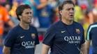 Rubi (izquierda) y Tata Martino durante la pretemporada 2013-14 del FC Barcelona