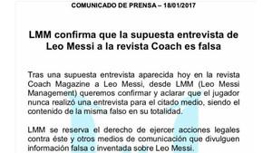 Comunicado de LMM sobre Leo Messi y Coach Magazine