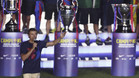 Luis Enrique Martínez, entrenador del FC Barcelona, durante la fiesta de celebración del triplete de la temporada 2014-15